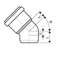 Отвод ПВХ для наруж. канализации KGB 15°